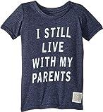 The Original Retro Brand Kids Baby Boy's I Still Live My Parents Short Sleeve Tri-Blend Tee (Toddler) Streaky Navy 3T