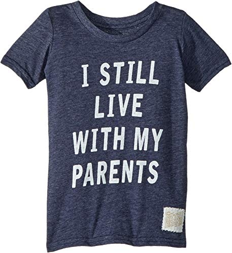 The Original Retro Brand Kids Baby Boy's I Still Live My Parents Short Sleeve Tri-Blend Tee (Toddler) Streaky Navy 2T (Toddler) -