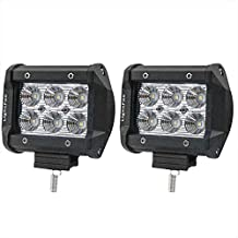 Lightfox 2Pcs 4Inch 18W Flood Cree LED Light Bar Offroad Pods Lights 4wd LED Driving Lamp Work Light Bulb Fog Lights for Truck Pickup Jeep SUV ATV UTV Waterproof, 1 Year Warranty