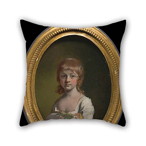 TonyLegner 18 X 18 Inches / 45 by 45 cm Oil Painting Henry Walton - Girl with A Bouquet of Flowers Pillowcover Both Sides Ornament and Gift to Car Son Adults Home Theater Bedding Relatives ()