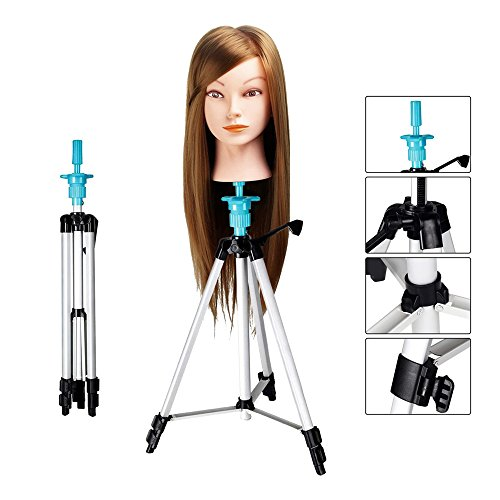 WAM Direct Mannequin Head Holder Tripod Stand, Portable 55 Aluminum Alloy Adjustable Training Doll Head Stand Mannequin Manikin Head Tripod Wig Stand With Travel Bag