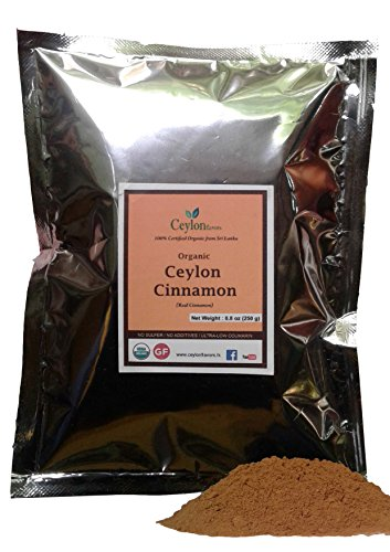 Organic Ceylon Cinnamon Powder, 8.8 oz, True Cinnamon, Premium Grade, Harvested & Packed from a USDA Certified Organic Farm in Sri Lanka