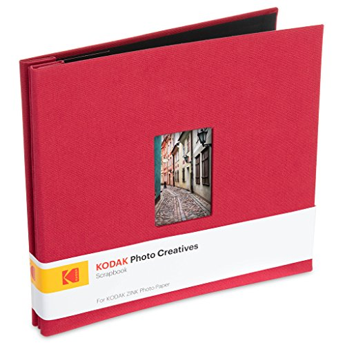 (Kodak 8x8 Cloth Covered Scrapbook Photo Album w/Front Picture Window For 2x3 Photo Paper Pojects (Printomatic, Mini Shot, Mini 2)   Red, Scrapbook Red)