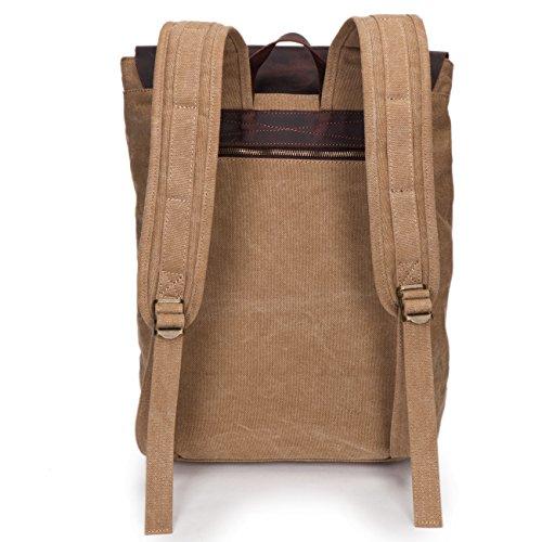 5 ALL Unisex Damen Herren Vintage Retro Canvas Leder Rucksack Schultasche Reisetasche Daypack Uni Backpack 14 Zoll Laptoprucksack für Outdoor Sports Freizeit 33 x 10 x 43cm (Rosa-A) Khaki-B