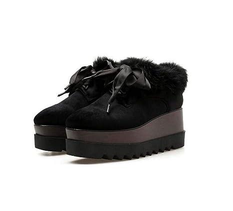 Las Mujeres de la Bomba Mocasines de Peluche Plataforma Zapatos cómodos pies Cuadrados 7cm cuña talón