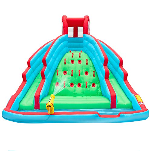 Ivation Deluxe Inflatable Water Slide Park – Heavy-Duty Nylon Bouncy Station for Outdoor Fun - Climbing Wall, Two Slides & Splash Pool – Easy To Set Up & Inflate with ()