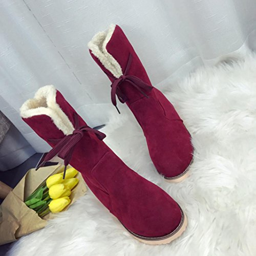 Fur Round Lining Flat Winter Women Calf Boots Shoes Toe Ankle Inkach Snow Martin Wine Faux Mid Boots xpXnwR1