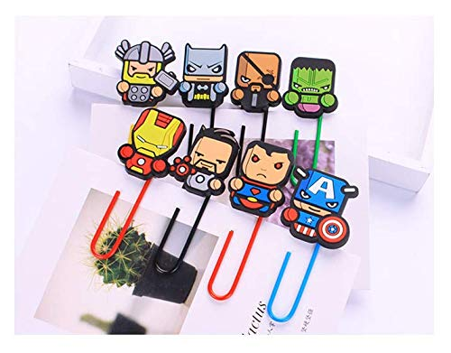 Airgoesin 16pcs Paper Clips Bookmark Superhero Page Markers Organizer Funny Cute School Office Supplies Gift