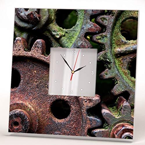 Rusty Gears Steampunk Love Fan Wall Clock Framed Mirror Print Industrial Design Art Home Decor Gift