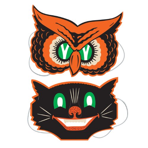 Beistle 2-Pack Owl and Cat Masks, -
