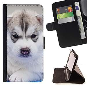Stuss Case / Funda Carcasa PU de Cuero - Siberian Husky de Alaska Malamute Cachorro - HTC Desire 626