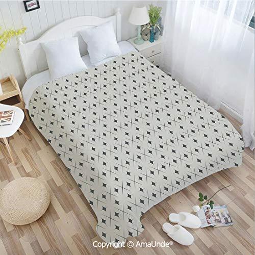 AmaUncle Custom Flannel Blanket W47.25 xL78.74 Bathroom Decor,Ornamental Eastern Civilization Inspired Star Concept with Grid Lines Oriental Super Soft Lightweight Breathable Sleeping Blanket