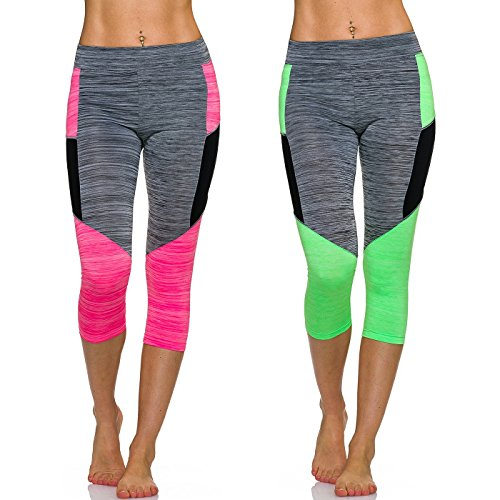 Adiyaro - Leggings - Rayas - para mujer Set: Pink + Green