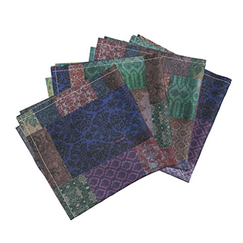 Roostery Bohemian Cheater Patchwork Damask Victorian Regal Gypsy Linen Cotton Dinner Napkins Bohemian Cheater (in Indigo by Nouveau Bohemian Set of 4 Dinner Napkins
