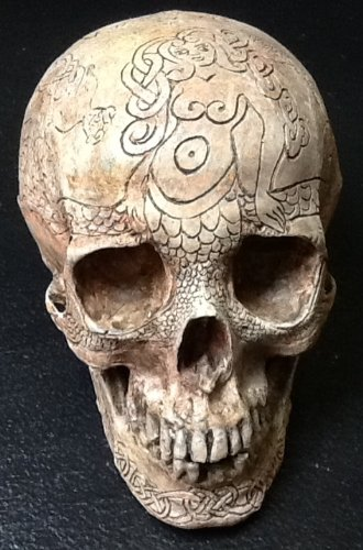 Real Human Skull Replica Carved By Zane Wylie and Cast By Chris Erney - Mermaid Queen