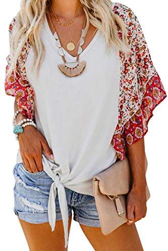 (Asvivid Womens Boho Floral Printed V Neck Bell Short Sleeve Summer Shirt Loose Ladies Casual Tops and Blouses S White)
