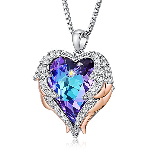 ANCREU Angel Wing Necklaces for Women Love Heart Pendant Necklace Gifts for Women Girls (C_Purple Heart) by ANCREU (Image #1)