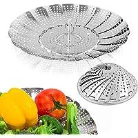 Vegetable Steamer Basket, TANIC STORE-(Aminery) Premium Stainless Steel Veggie Steamer Basket - Folding Expandable…