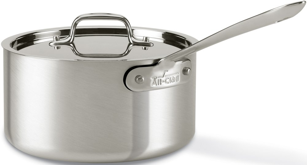 All-Clad 7203.5 MC2 Professional Master Chef 2 Stainless Steel Bi-Ply Bonded Oven Safe PFOA Free 3.5-Quart Saucepan / Cookware, Silver