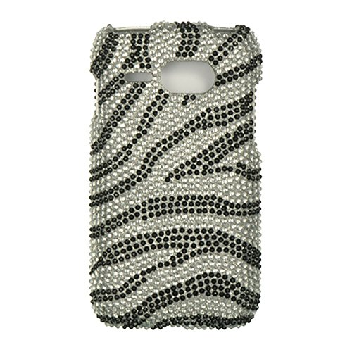 Kyocera Event C5133 Case, Dreamwireless Zebra Rhinestone Diamond Bling Hard Snap-in Case Cover for Kyocera Event C5133, Silver/Black