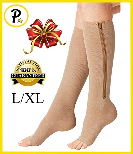 NEW Open Toe Knee Length Zipper Up Compression Hosiery Calf Leg Support Stocking (L/XL, Beige) (Leg Zipper)
