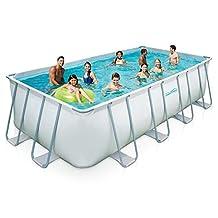 Summer Waves Elite Rectangular Metal Fram Swimming Pool Package, 9' x 18'