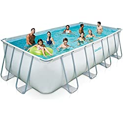Summer Waves Elite Rectangular Metal Frame Swimming Pool Package, 9' x 18'