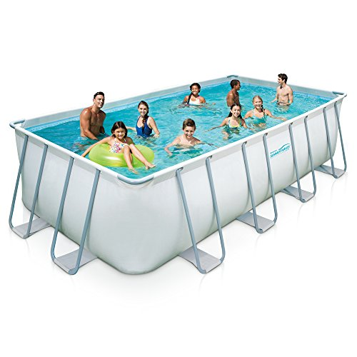 Summer Waves Rectangular Metal Frame Swimming Pool Package, 9' x 18'