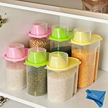 2pcs Rice Cereal Containers Storage Bpa Free Transparent Sealed Tank Food Storage Cans Dumping of Dried Fruit Snacks Flour Splenda Antibacterial Storage Tank