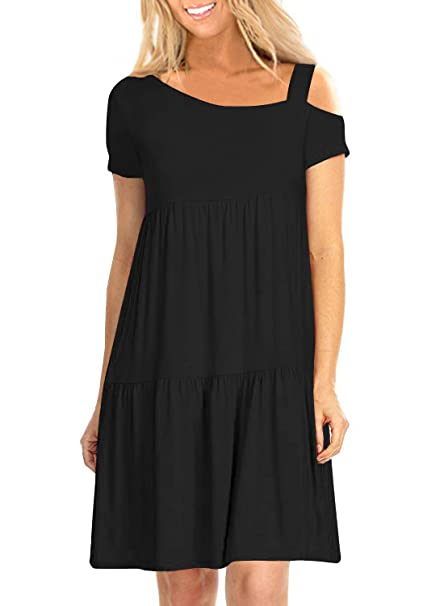 7ef8510818b5 Image Unavailable. Image not available for. Color  Women s Summer Cold  Shoulder Black Casual Loose Swing Tiered T Shirt Dress ...