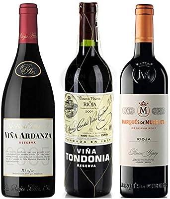 Pack Vino Top Rioja 3 botellas. 1 Viña Ardanza, 1 Viña Tondonia Reserva y 1 Marques de Murrieta Reserva: Amazon.es: Alimentación y bebidas
