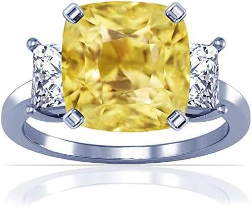 Platinum Cushion Cut Yellow Sapphire Three Stone Ring