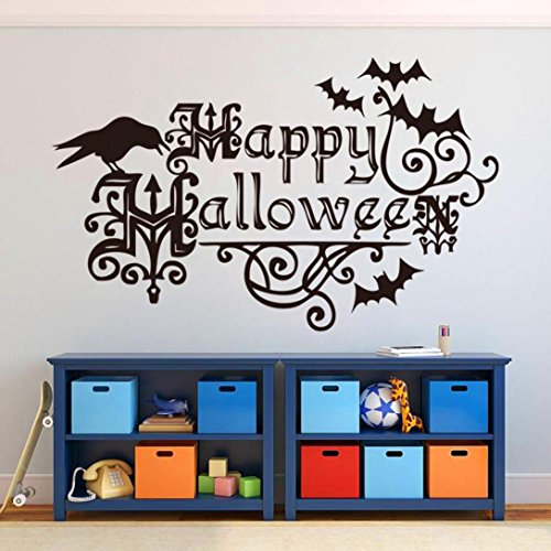 Happy Halloween Wall Sticker Bat and Bird Decals for Home Decoration Living Room Bed Room