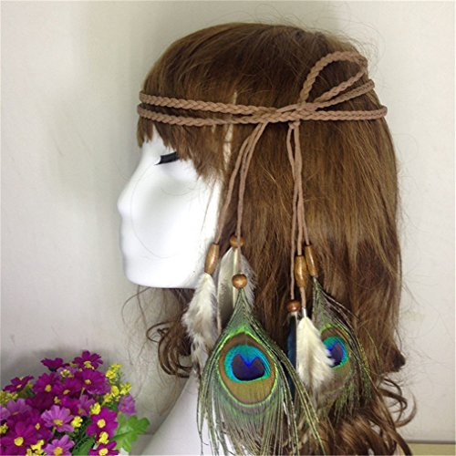 Price comparison product image Bohemia Peacock Feather Headbands For Women Christmas Hair Accessories Indian Style Knitted Headwear Women Belt as show