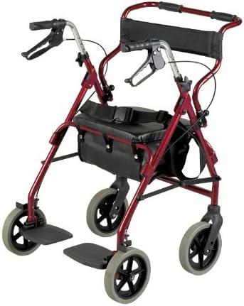 Patterson Medical - Andador y silla de transporte 2 en 1, color burdeos