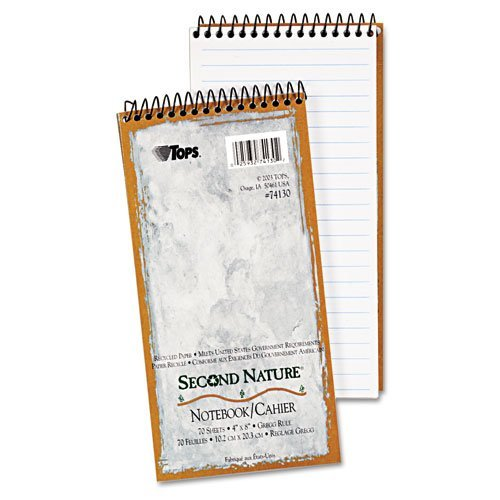 Tops Second Nature Spiral - TOPS Products - TOPS - Second Nature Spiral Reporter/Steno Notebook, Gregg Rule, 4 x 8, WE, 70-Sheet - Sold As 1 Each - Gregg ruled sheets, 25 narrow lines, 5/16