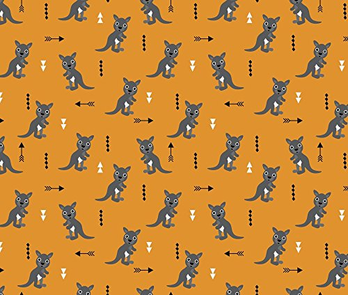 Geometrics Fabric - Hot Orange Adorable Geometric Kangaroo Illustration Australia Kids Pattern Design by littlesmilemakers - Printed on Kona Cotton Fabric by the Yard
