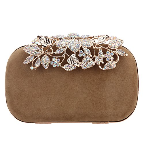 Clutch Bag Apricot - Fawziya Crystal Flower Velvet Evening Bags And Clutches For Women Clutch Purse-Apricot