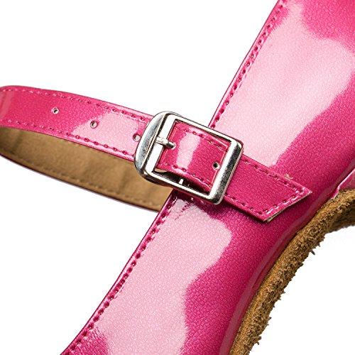 Señoras 5cm Zapatos Capilla Baile De Pu 8 Lamba Latino Rosa Cómodos vfrFvqw