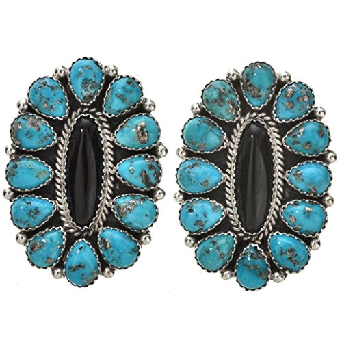 Navajo Old Pawn (Turquoise Onyx Petit Point Navajo Earrings Post Old Pawn Design)