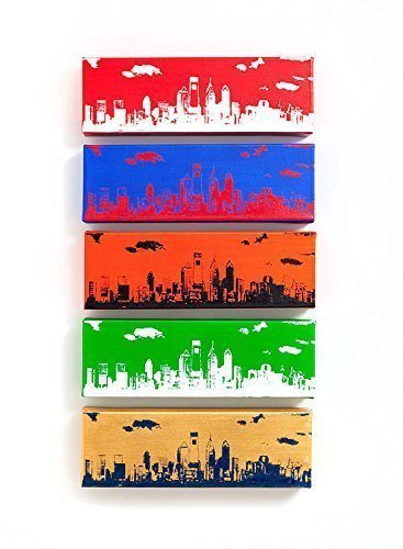 Philadelphia Skyline Canvas Set of 5 (Ultimate Sports Edition: 12 x 4 inches each) Philly Wall Art by Ink the Print