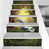 Stair Stickers Wall Stickers,6 PCS Self-adhesive,Unicorn,Enchanted Forest Fantasy Magical Willow Trees Wildflowers Woodland Animal Folklore,Green White,Stair Riser Decal for Living Room, Hall, Kids Ro