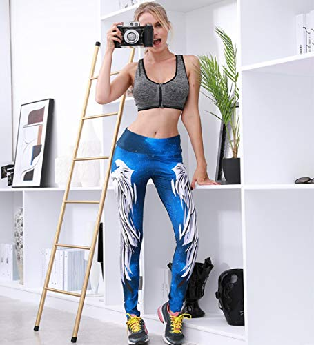 Autumn Ladies Print Angel Wings Sports Tights High Waist Tight Yoga Pants Quick-Drying Tights,Blue,S
