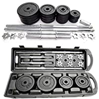 ALL In one Adjustable Barbell and Dumbbell Set 50 Kg - With Protective Carrying Case with wheel - (Black Color)