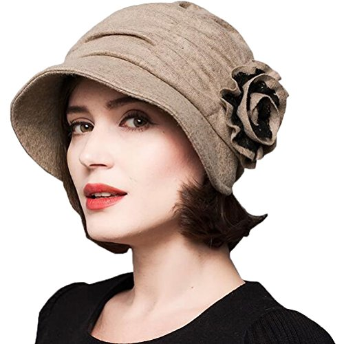 Maitose™ Women's Decorative Flowers Wool Beret Camel