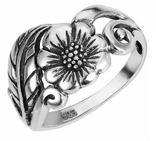 CloseoutWarehouse Sterling Silver Karen's Flower Ring Size 3