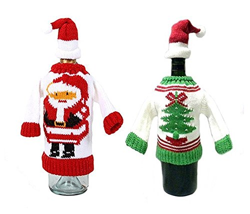 Winter Wine Bottle Knit Sweater, Christmas Wine Decoration, Wine Bottle Dress, Holiday Clothing, Wine Bottle Cover, Wine Gift Giving Idea - Set of 2]()