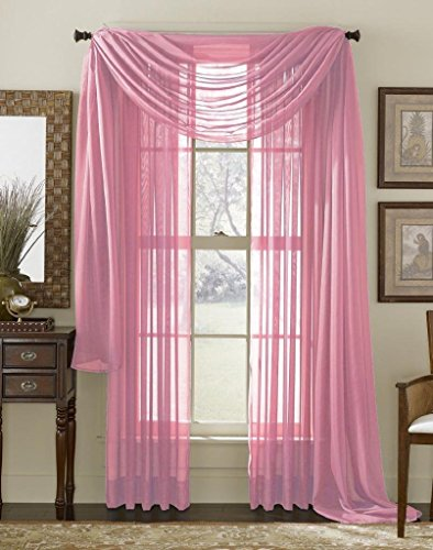 Elegant Mary 1 Peace Scarf Valance Soft Sheer Voile Window Panel Curtain – 216″ Long Valance (Rose pink)
