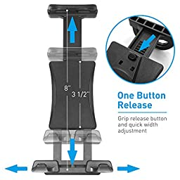 Macally Adjustable Car Seat Headrest Mount and Holder for Apple iPad Air / Mini, Samsung Galaxy Tab, and 7\