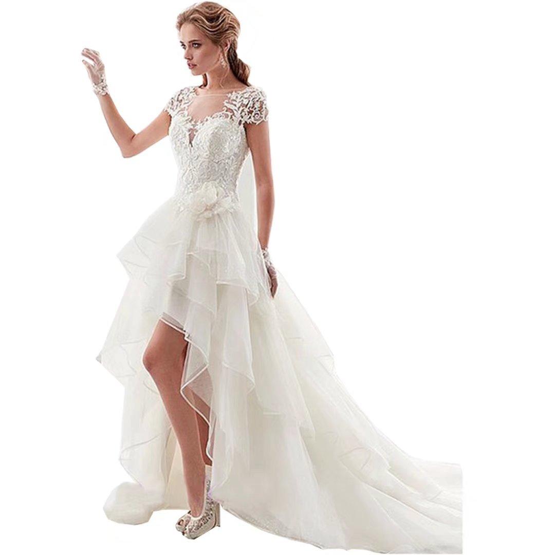 Dingdingmail O Neck High Low Ruffles Chiffon Wedding Dresses Long